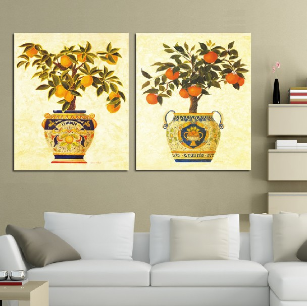 2 Panel oil Painting Home Decorative Art Picture Canvas Prints Oil painting beautiful potted plant mandarin orange(China (Mainland))