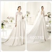 Hot Sale High Neck Lace Embellished Chapel Train Satin Modest Wedding Gowns Long Sleeves