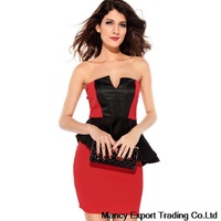 free shipping 2014 Summer women sexy dress red and black stitching falbala OL job dress vestidos de fiesta GQ024