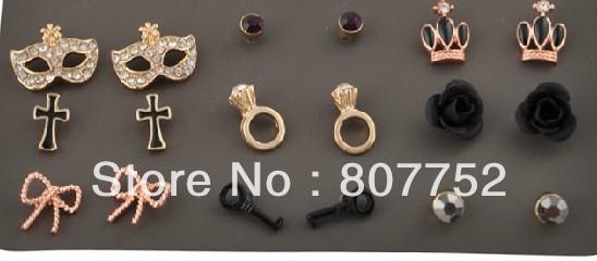 Fashion river island stud earrings 9 pairs per set, 5 sets per lot(China (Mainland))