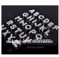 Free Shipping! 520pcs Hot sell Brand New The English alphabet 8mm DIY slide letters with Full rhinestone A~Z diy accessory