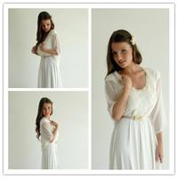 J0005 New  Fashion Long Sleeve  Wedding  Accessory  white Bridal Bolero Jacket Chiffon Shawl Wrap 2013free shipping