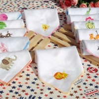 Infant embroidered double layer 25 honeycomb gauze bib feeding towel handkerchief  20pcs