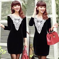 Women Black Velor Long Sleeve Sheath Mini Dress Free Shipping 1072
