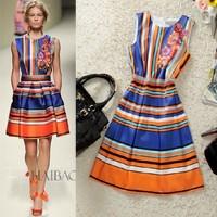 Free shipping! 2014 European O-neck print striped tank dress, women's show dress