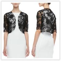 J0013 Real Fashion Short Sleeve Wedding Accessory Black Bridal Bolero Lace Jacket Lace Shawl Wrap 2014 Free shipping