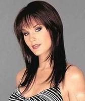 JF73 Fine fashion vogue long medium brown hair women's wig +wigs hairnet