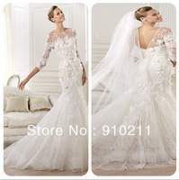 Splendid  High Neck Tulle Brush Train Appliques Lace 3/4  Sleeves Mermaid Wedding Dresses 2014