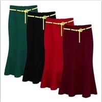 fashion women's skirt female woolen ruffle sweep mid-calf fish tail slim hip skirts