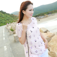 2014 summer short-sleeve shirt short-sleeve top cartoon graphic patterns chiffon shirt female