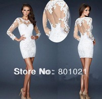Free shipping new arrival white tulle and lace appliques sheer see though long sleeve knee short evening dress