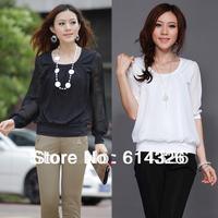 Women Blouse 2014 New Fashion Plus Size Shirt Elegant Lantern Sleeve Chiffon Shirts Loose Tops Stylish Women Clothing  S-XXXXL