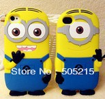 300pcs Free DHL/Fedex  3D Cute Despicable Me 2 Minion case silicone back cover for iPhone5 5S 5C two eyes minions plastic bag