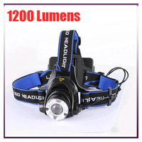 2PCS Waterproof 1200 Lumens CREE XMLT6 LED Headlamp Flashlight Zoomable For Camping Hiking Hunting Headlight Lantern