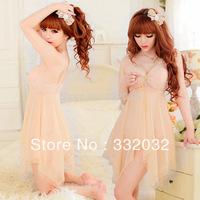 2014 New Sexy Lingerie Flesh color Women Sheer Deep V-neck Halter Backless Dress Lingerie Babydoll Sleepwear Night Wear+G-String