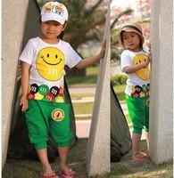 Retail 1 pcs new 2014 kid clothing set sports girl boy short sleeve clothing set smiling face cartoon t shirt + pants CCC262