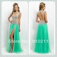 Best-Selling V Neck Beaded Mint Green Evening Gown Long Open Back V-Neck Formal Gown