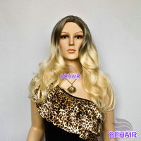 Free Shipping,New Stylish,Black and Blonde Clour,long Wave Synthetic Ladys' Fashion Sexy Hair Wig/Wigs