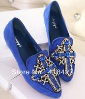2014 summer hot sell women flock flats vintage crystal cross rhinestone comfortable shoes