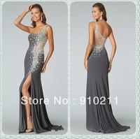 Tasteful Beaded and Crystals Embellished Front Slit Chiffon Long Grey One Shoulder Evening Dresses
