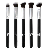5 different head styles 5 pcs/lot thin high quality super synthetic Professional long balck wood handle eye   brush