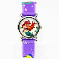Free shipping 1pc Purple Cute Mermaid Girls Fashion Casual Cartoon Children's Silicone Watch Chrismas gift Watch, C15-PP