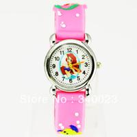 Free shipping 1pc Pink Cute Mermaid Girls Fashion Casual Cartoon Children's Silicone Watch Chrismas gift Watch, C15-PK