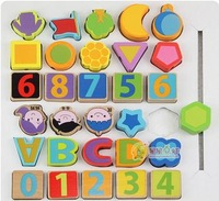 Free Shipping ,Kids Wooden DigitalLetter  Beads Baby Toy ,30Pieces/set,Building Blocks Set,Wooden Toys Educational