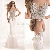 2014 New Arrival Elegance Traik Ediz Crystal Beaded Jewel Shining Slim Sheer Back   Prom Party  Evening Gown