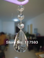 50PCS free shipping faceted teardrop clear pendant with octagonal beaded garland chains for hotel/ wedding lamp chandelier parts