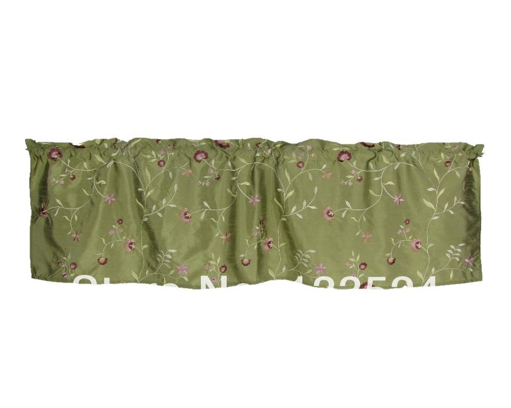 Euphoria Window Curtain Panel Valance Luxury Embroidery Sage Green ...