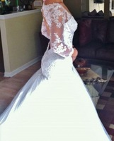 WM025 Long sleeves lace beaded backless wedding dress