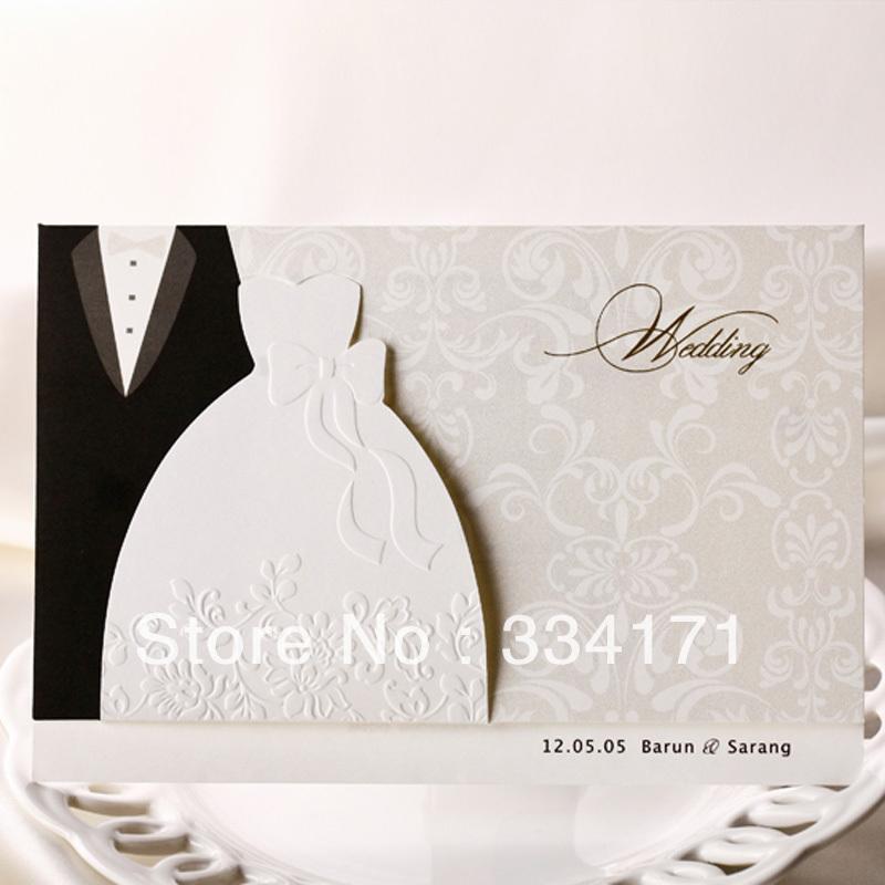 50pcs/set free envelop and free seal Elegant bride and groom embossed Wedding Invitation BH2046(China (Mainland))