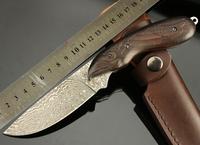 DAMASCUS Eagle Messenger Fish Shape Ebony Handle Pure Handmade Straight Knives High-end Collection Fixed Knife Freeshipping