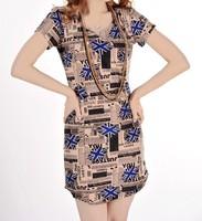 Sexy Dress Mini Dress Newly Vintage Womens Printed Milk Silk Tops Promotion Free Shipping