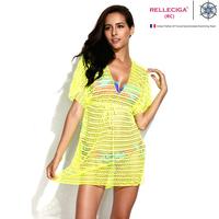 Free shipping RELLECIGA 2014 Sexy Beachwear - Neon Yellow Mesh Crochet Tunic Beach Dress with Drawstring at Waistline