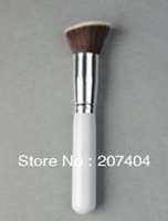 10pcs/lot  high quality super synthetic Professional Makeup Face blush white  wood handle oblique flat  brush
