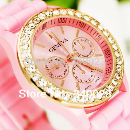 Hot sale! 1PC Pretty New Fancy Stylish Silicone Crystal Teenager Lady Girl Jelly Fashion Quartz Wrist Watches, Free Shipping, R3(China (Mainland))