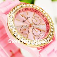 Hot sale! 1PC Pretty New Fancy Stylish Silicone Crystal Teenager Lady Girl Jelly Fashion Quartz Wrist Watches,  R3