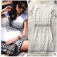 Women Summer Short Sleeve Cotton White Casual Rivet Dress