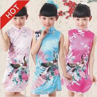 Hot Chinese Kid Child Girl Baby Peacock Cheongsam Dress Girls Charmeuse dresses Novely flower rose children Performance clothing