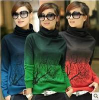 New Women Winter Crochet Knitted Cashmere Pullovers Branch Pattern Gradient Color Oversized Turtleneck Sweater Jumper S-XXXL