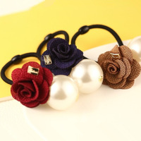 2014 New Korean Hair accessories for Women Rose Pearl Elastic Hair Bands