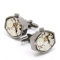 Watch  Cufflinks , Black polygon cufflinks Silver movement cufflinks 800950 men jewelry
