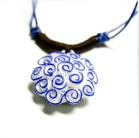 sweater necklace jewelry ornaments hand-painted ceramic flowers pendants free shipping