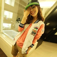 Free Shipping New 2014 Women Korean Spring Autumn Fashion Patchwork Baseball Jacket Print Hoodies Cardigan Sweatshirts 7278