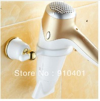 Free Shipping Wholesale And Retail Promotion  Fashion White Gold Brass Bath Wall Mounted Stand/Flat Iron Holder for Hair Dryer
