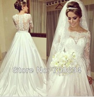 WA1016 Elegant sheer straps long sleeve lace wedding dresses