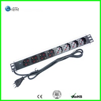 Italy type rack mount  PDU 1.5U 8 ways with power light