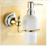 Free Shipping Wholesale And Retail Promotion  Euro Style Bathroom Kitchen Wall Mounted Golden Ceramic Soap Dispenser Soap Cup